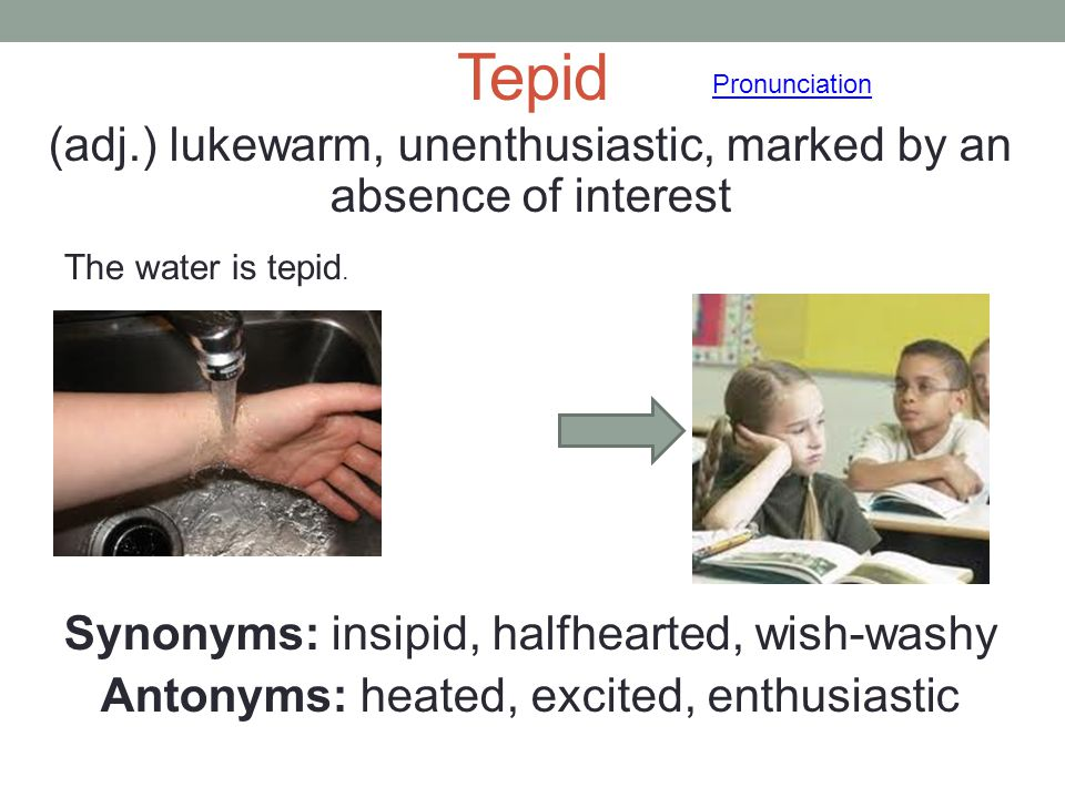 Tepid (adj.) lukewarm, unenthusiastic, marked by an absence of interest Synonyms: insipid, halfhearted, wish-washy Antonyms: heated, excited, enthusia