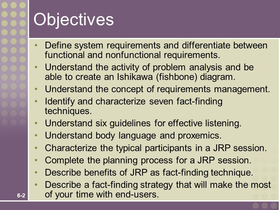 6-2 Objectives Define system requirements and differentiate between functional and nonfunctional requirements.