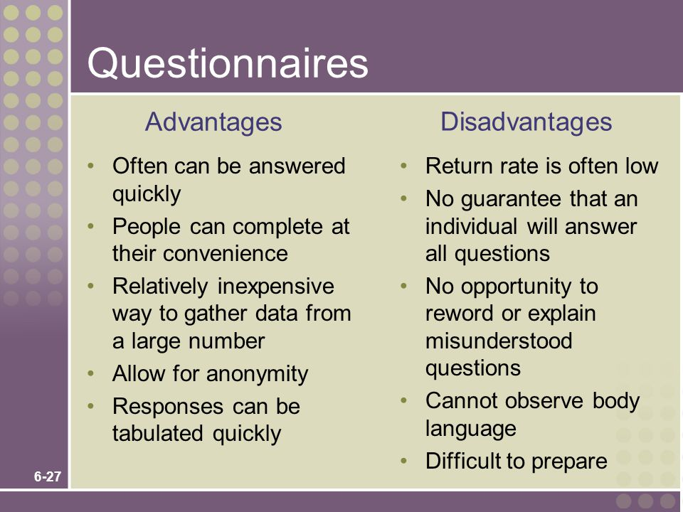 6-27 Questionnaires Often can be answered quickly People can complete at their convenience Relatively inexpensive way to gather data from a large number Allow for anonymity Responses can be tabulated quickly Return rate is often low No guarantee that an individual will answer all questions No opportunity to reword or explain misunderstood questions Cannot observe body language Difficult to prepare Advantages Disadvantages