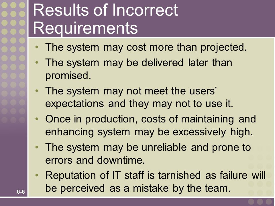 6-6 Results of Incorrect Requirements The system may cost more than projected.