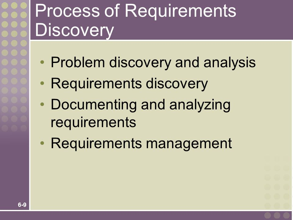 6-9 Process of Requirements Discovery Problem discovery and analysis Requirements discovery Documenting and analyzing requirements Requirements manage
