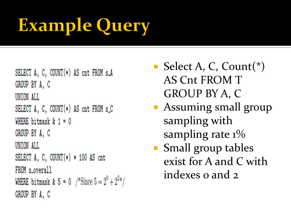  Select A, C, Count(*) AS Cnt FROM T GROUP BY A, C  Assuming small group sampling with sampling rate 1%  Small group tables exist for A and C with indexes 0 and 2