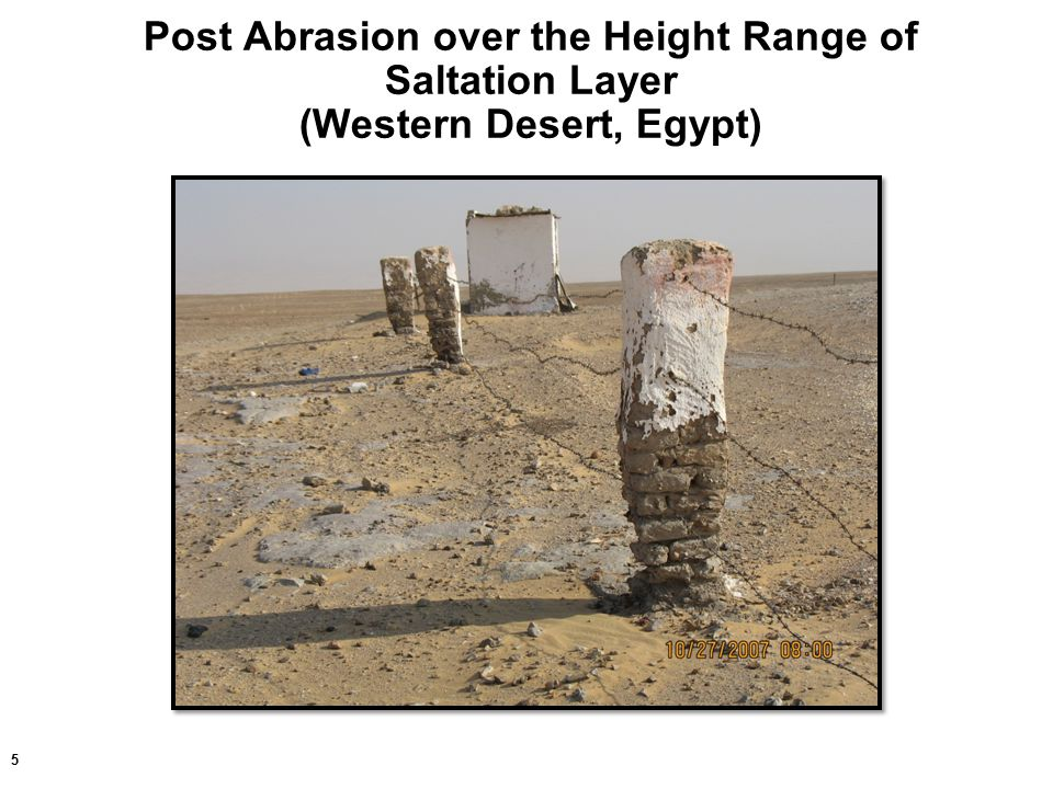 5 Post Abrasion over the Height Range of Saltation Layer (Western Desert, Egypt)