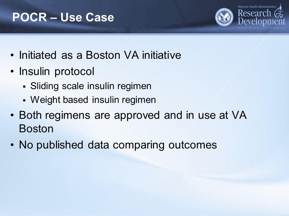 POCR – Use Case Initiated as a Boston VA initiative Insulin protocol  Sliding scale insulin regimen  Weight based insulin regimen Both regimens are