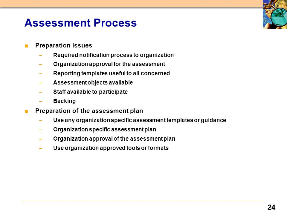 24 ■Preparation Issues –Required notification process to organization –Organization approval for the assessment –Reporting templates useful to all concerned –Assessment objects available –Staff available to participate –Backing ■Preparation of the assessment plan –Use any organization specific assessment templates or guidance –Organization specific assessment plan –Organization approval of the assessment plan –Use organization approved tools or formats Assessment Process