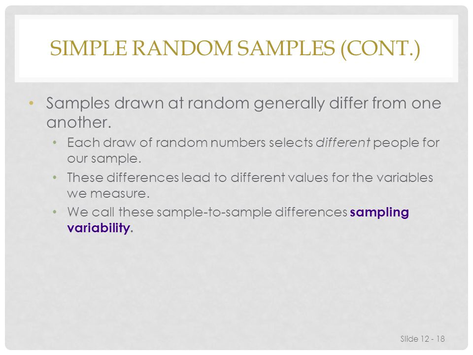 SIMPLE RANDOM SAMPLES (CONT.) Samples drawn at random generally differ from one another.