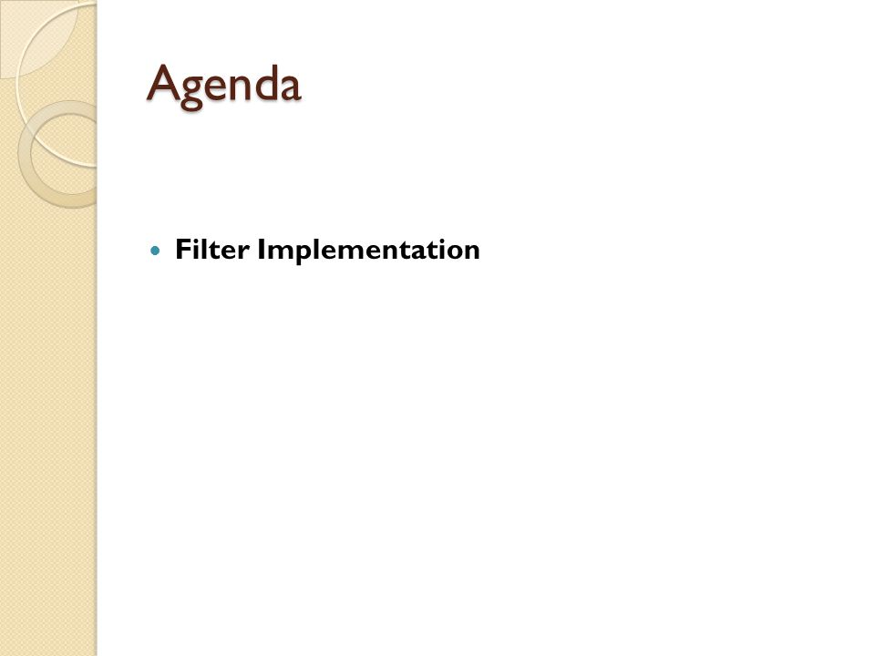 Agenda Filter Implementation