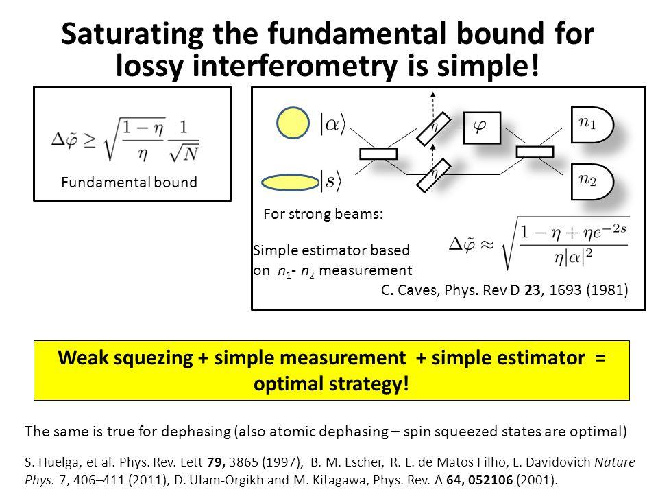 Saturating the fundamental bound for lossy interferometry is simple! Weak squezing + simple measurement + simple estimator = optimal strategy! Fundame