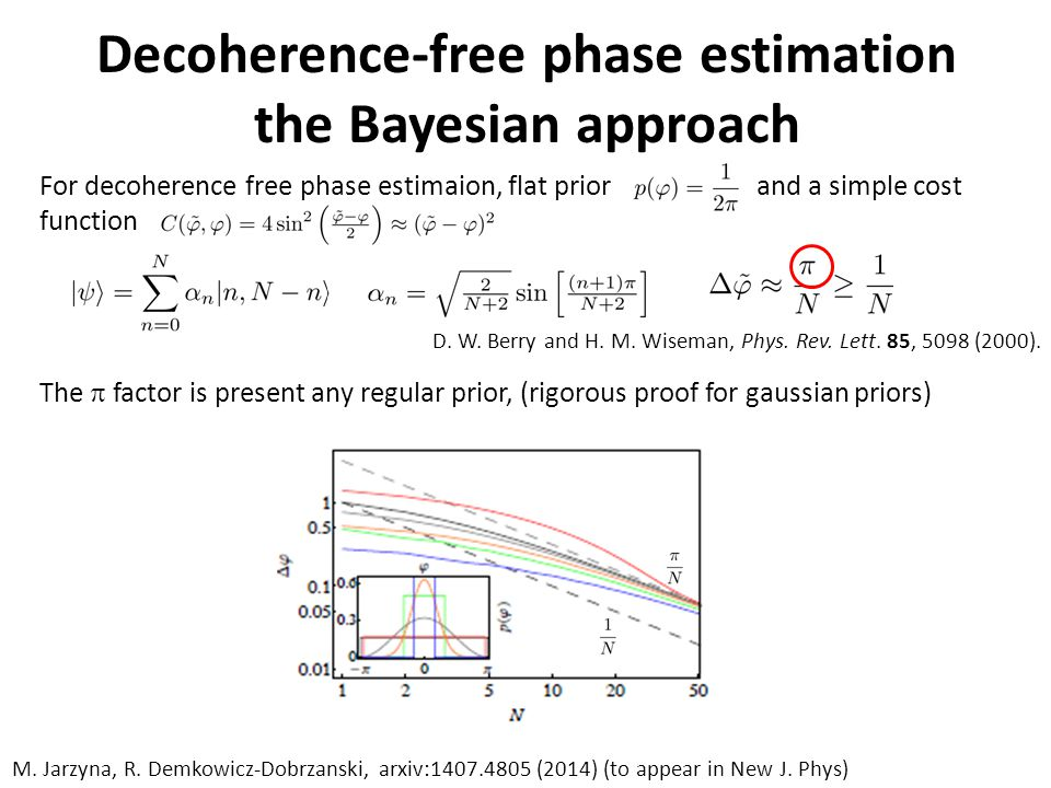 For decoherence free phase estimaion, flat prior and a simple cost function D.
