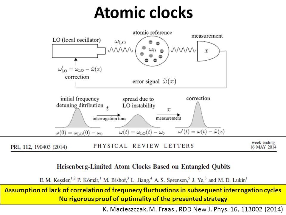 Atomic clocks K. Macieszczak, M. Fraas, RDD New J.