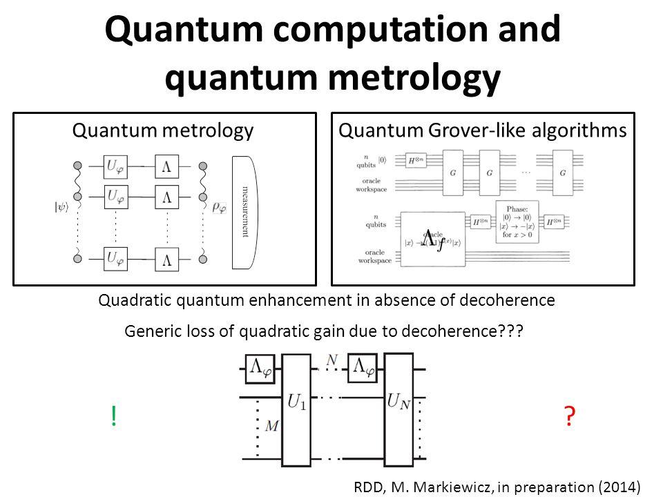 Quantum computation and quantum metrology Quantum metrologyQuantum Grover-like algorithms Quadratic quantum enhancement in absence of decoherence Generic loss of quadratic gain due to decoherence .