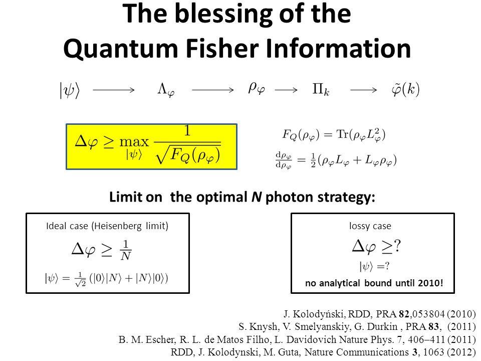 The blessing of the Quantum Fisher Information Limit on the optimal N photon strategy: J. Kolodyński, RDD, PRA 82,053804 (2010) S. Knysh, V. Smelyansk
