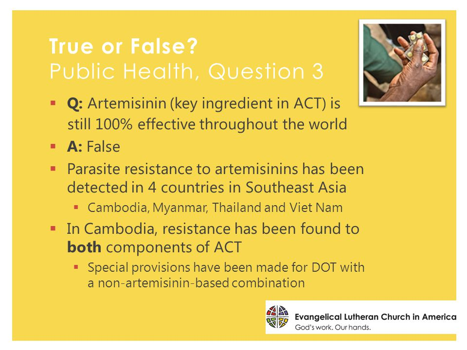  Q: Artemisinin (key ingredient in ACT) is still 100% effective throughout the world  A: False  Parasite resistance to artemisinins has been detected in 4 countries in Southeast Asia  Cambodia, Myanmar, Thailand and Viet Nam  In Cambodia, resistance has been found to both components of ACT  Special provisions have been made for DOT with a non-artemisinin-based combination