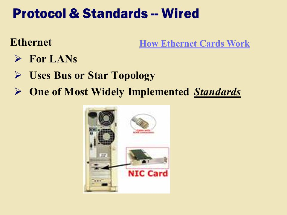 Protocol & Standards -- Wired Ethernet  For LANs  Uses Bus or Star Topology  One of Most Widely Implemented Standards How Ethernet Cards Work
