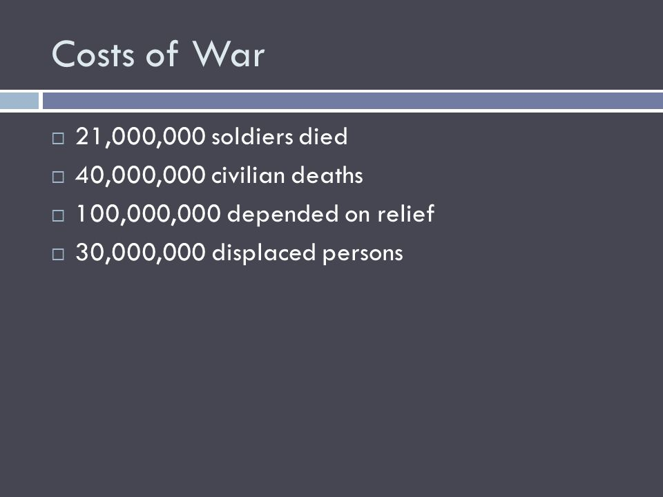 Costs of War  21,000,000 soldiers died  40,000,000 civilian deaths  100,000,000 depended on relief  30,000,000 displaced persons