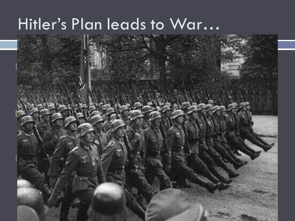 Hitler's Plan leads to War…