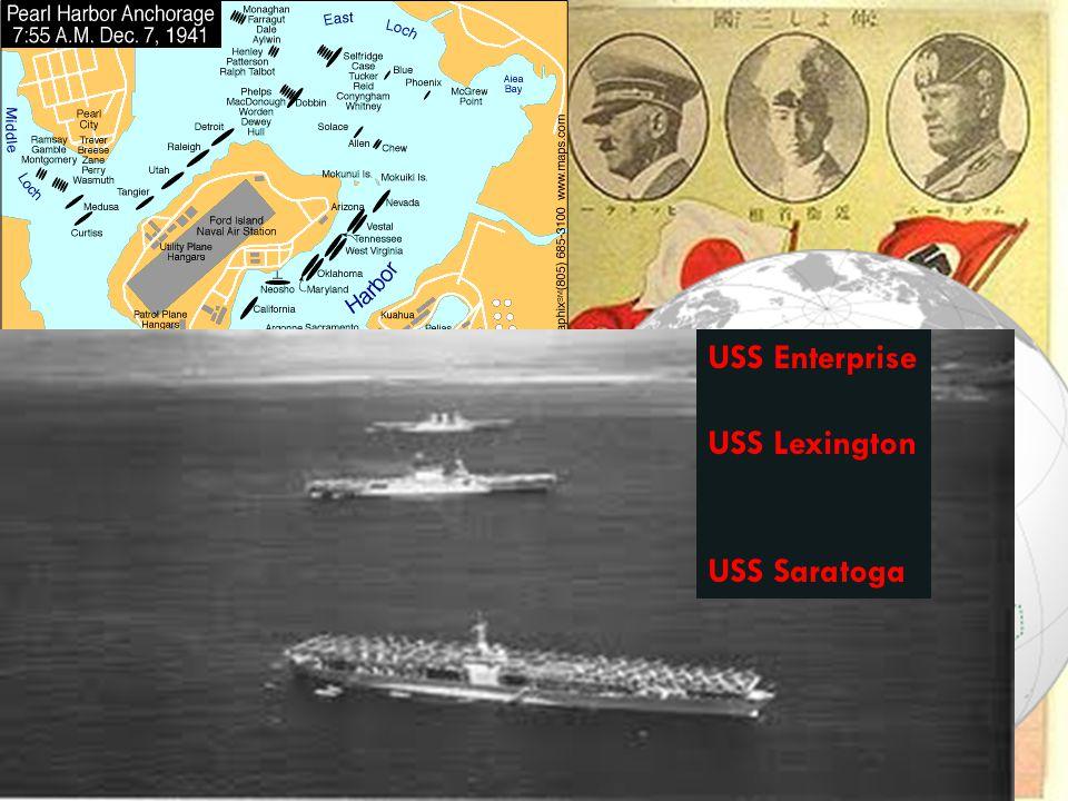 December 7, 1941 USS Enterprise USS Lexington USS Saratoga