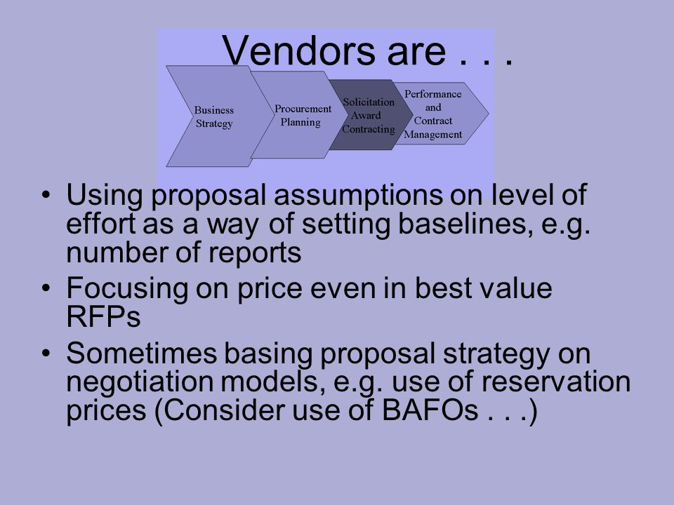 Vendors are... Using proposal assumptions on level of effort as a way of setting baselines, e.g.