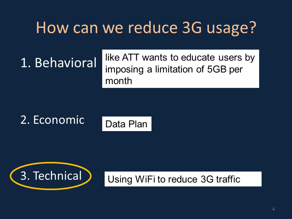 Augmenting Mobile 3G using WiFi Offload data to WiFi when possible Easy to do when you are stationary Focus on vehicular mobility 5