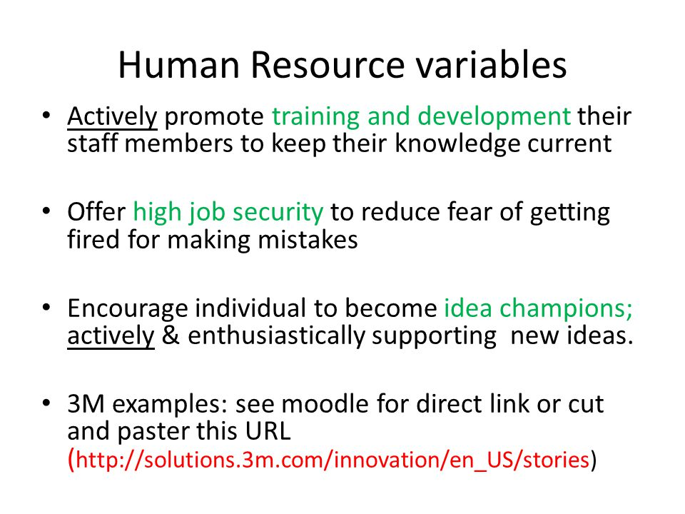Human Resource variables Actively promote training and development their staff members to keep their knowledge current Offer high job security to redu