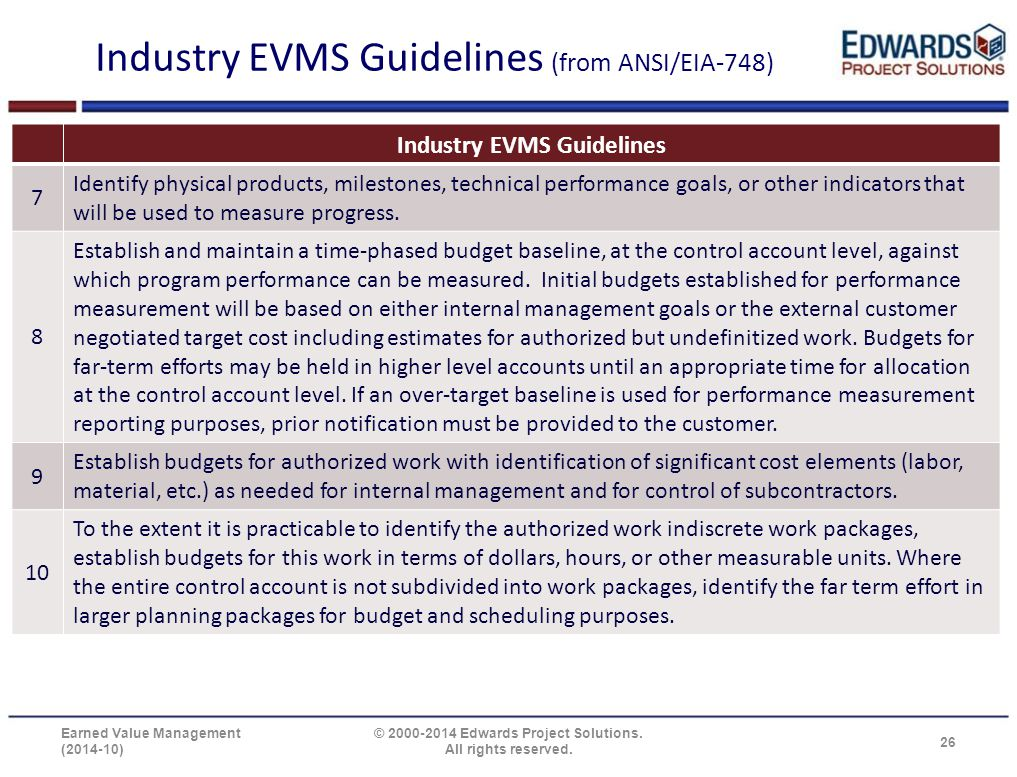 Industry EVMS Guidelines (from ANSI/EIA-748) Industry EVMS Guidelines 7 Identify physical products, milestones, technical performance goals, or other