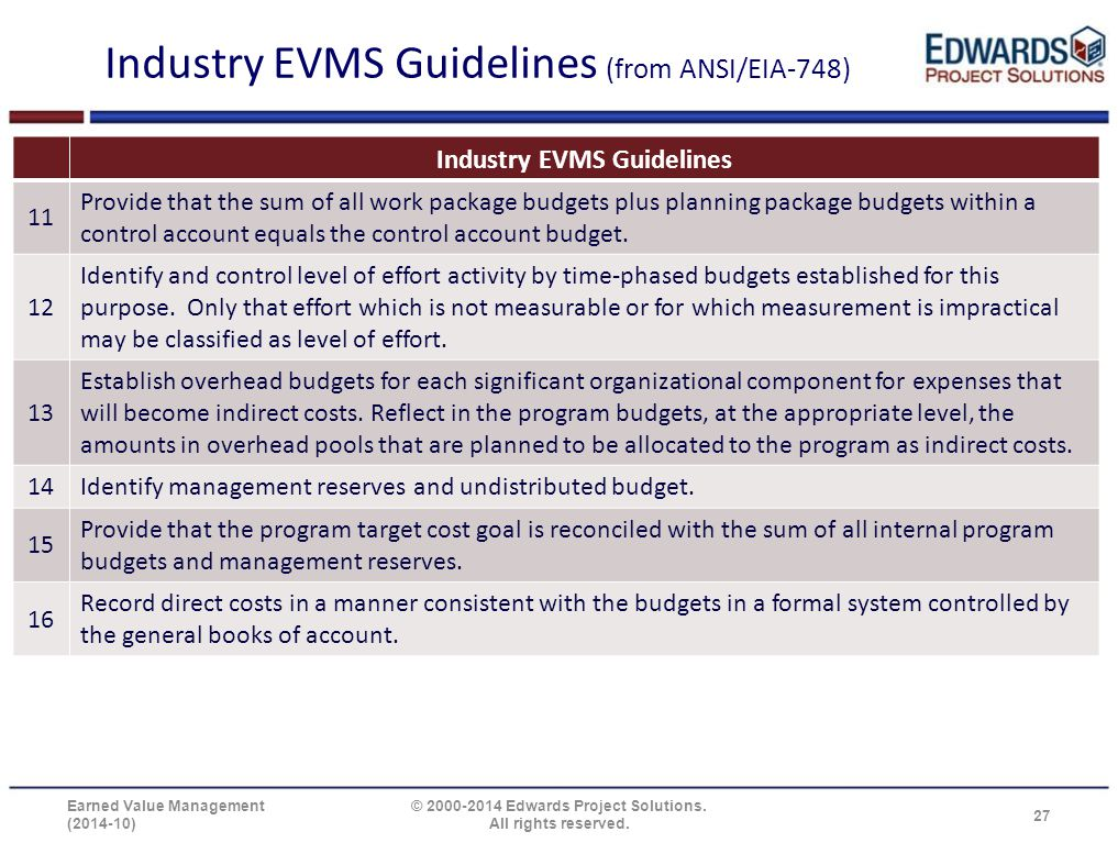 Industry EVMS Guidelines (from ANSI/EIA-748) Industry EVMS Guidelines 11 Provide that the sum of all work package budgets plus planning package budget