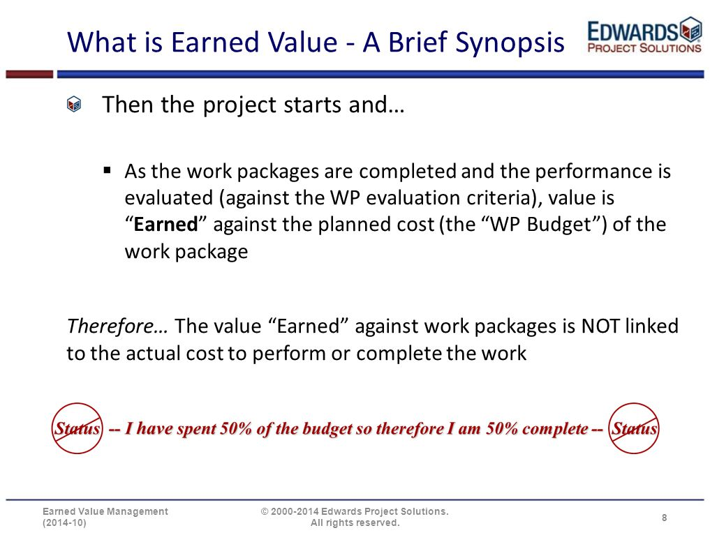 What is Earned Value - A Brief Synopsis Then the project starts and…  As the work packages are completed and the performance is evaluated (against th