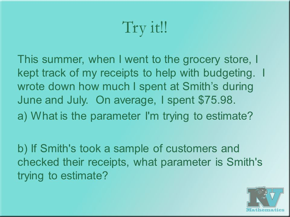 Try it!! This summer, when I went to the grocery store, I kept track of my receipts to help with budgeting. I wrote down how much I spent at Smith's d