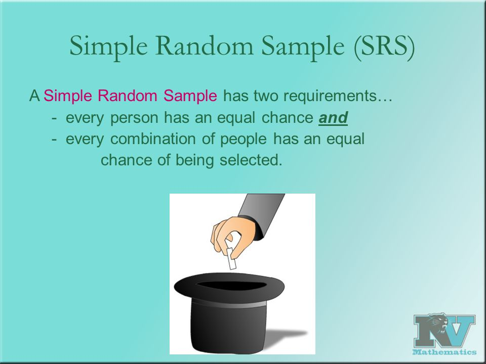 Simple Random Sample (SRS) A Simple Random Sample has two requirements… - every person has an equal chance and - every combination of people has an eq