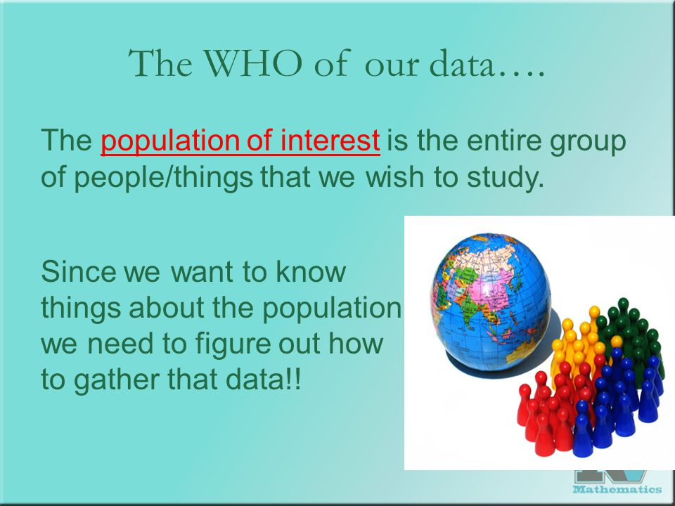 The WHO of our data…. The population of interest is the entire group of people/things that we wish to study. Since we want to know things about the po
