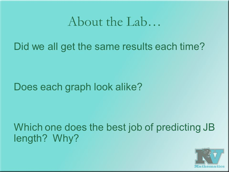 About the Lab… Did we all get the same results each time? Does each graph look alike? Which one does the best job of predicting JB length? Why?