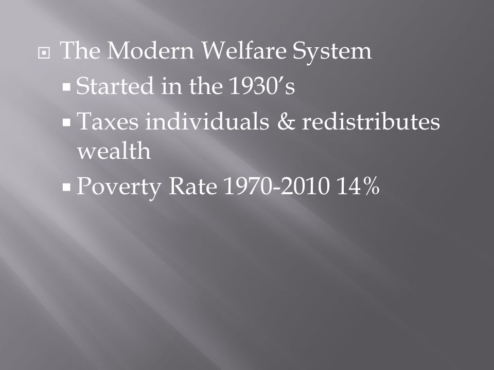  The Modern Welfare System  Started in the 1930's  Taxes individuals & redistributes wealth  Poverty Rate 1970-2010 14%