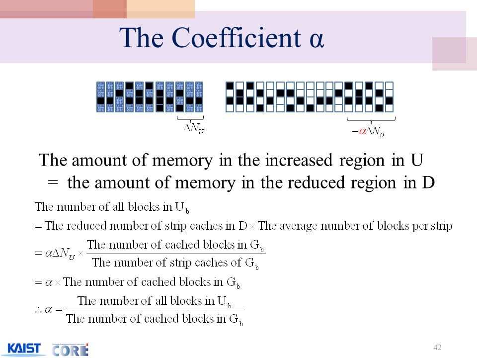The Coefficient α 42 The amount of memory in the increased region in U = the amount of memory in the reduced region in D