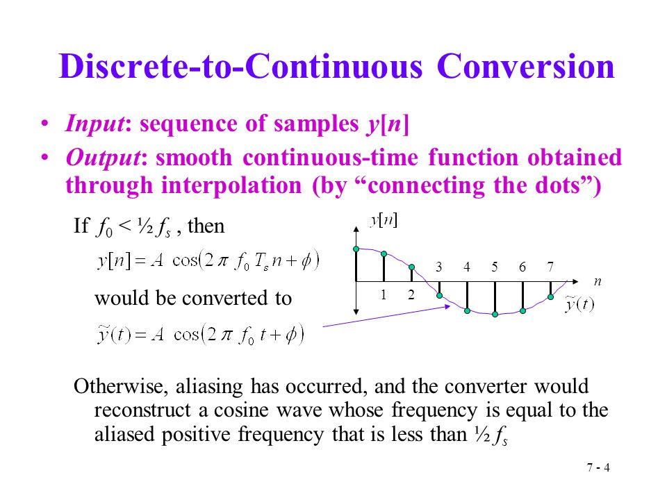 "7 - 4 Discrete-to-Continuous Conversion Input: sequence of samples y[n] Output: smooth continuous-time function obtained through interpolation (by ""co"