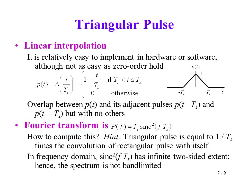 7 - 9 Triangular Pulse Linear interpolation It is relatively easy to implement in hardware or software, although not as easy as zero-order hold Overla