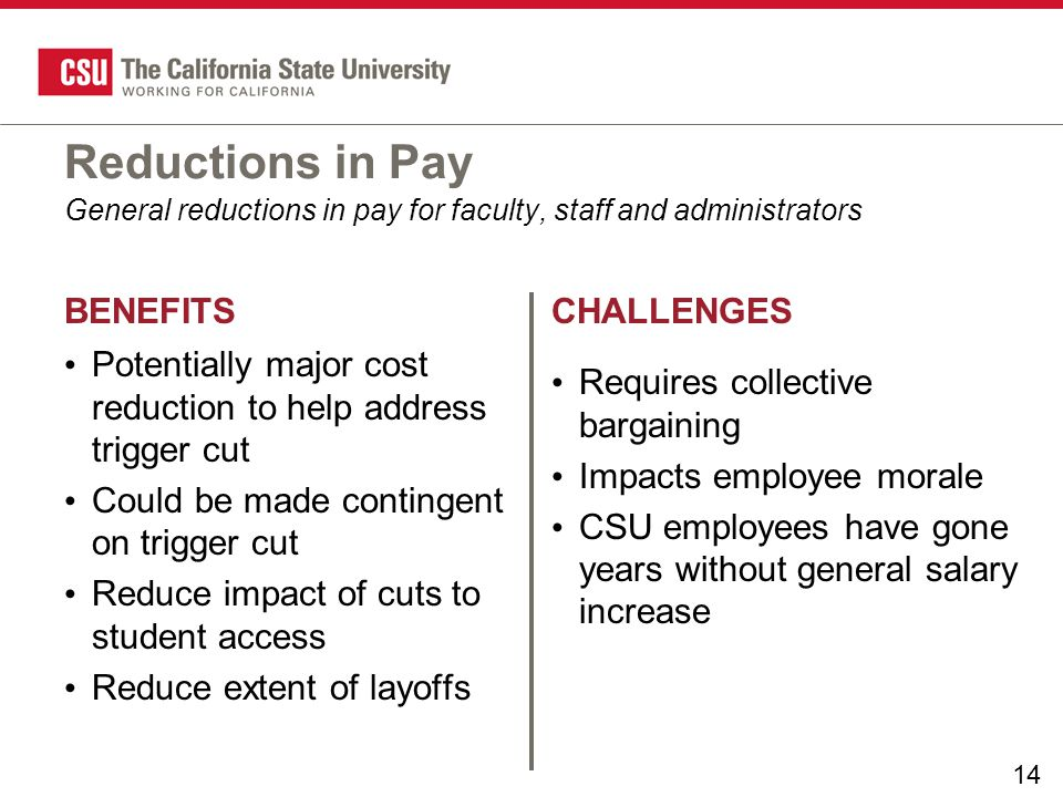 14 BENEFITSCHALLENGES Reductions in Pay Potentially major cost reduction to help address trigger cut Could be made contingent on trigger cut Reduce impact of cuts to student access Reduce extent of layoffs Requires collective bargaining Impacts employee morale CSU employees have gone years without general salary increase General reductions in pay for faculty, staff and administrators