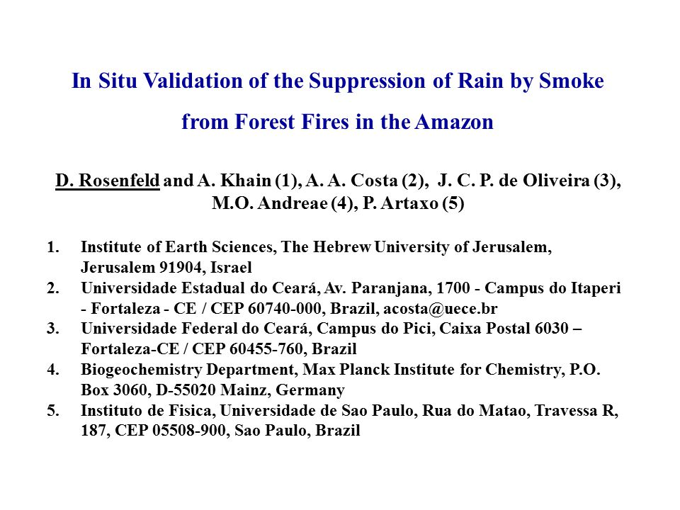In Situ Validation of the Suppression of Rain by Smoke from Forest Fires in the Amazon D.