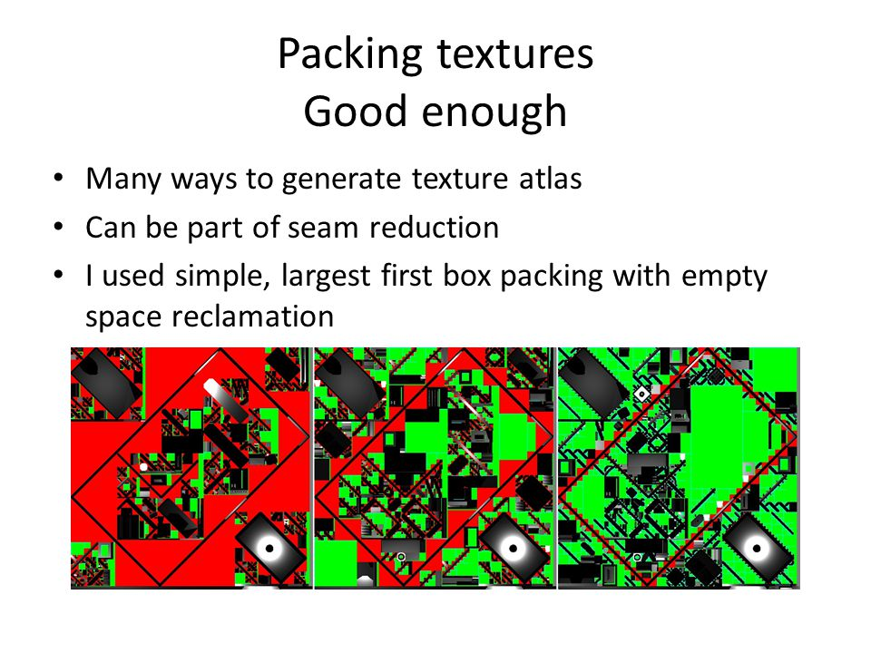 Packing textures Good enough Many ways to generate texture atlas Can be part of seam reduction I used simple, largest first box packing with empty spa