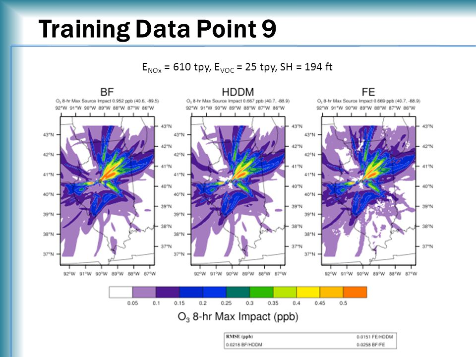 Training Data Point 9 E NOx = 610 tpy, E VOC = 25 tpy, SH = 194 ft