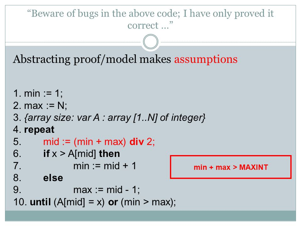 Beware of bugs in the above code; I have only proved it correct … Abstracting proof/model makes assumptions 1.