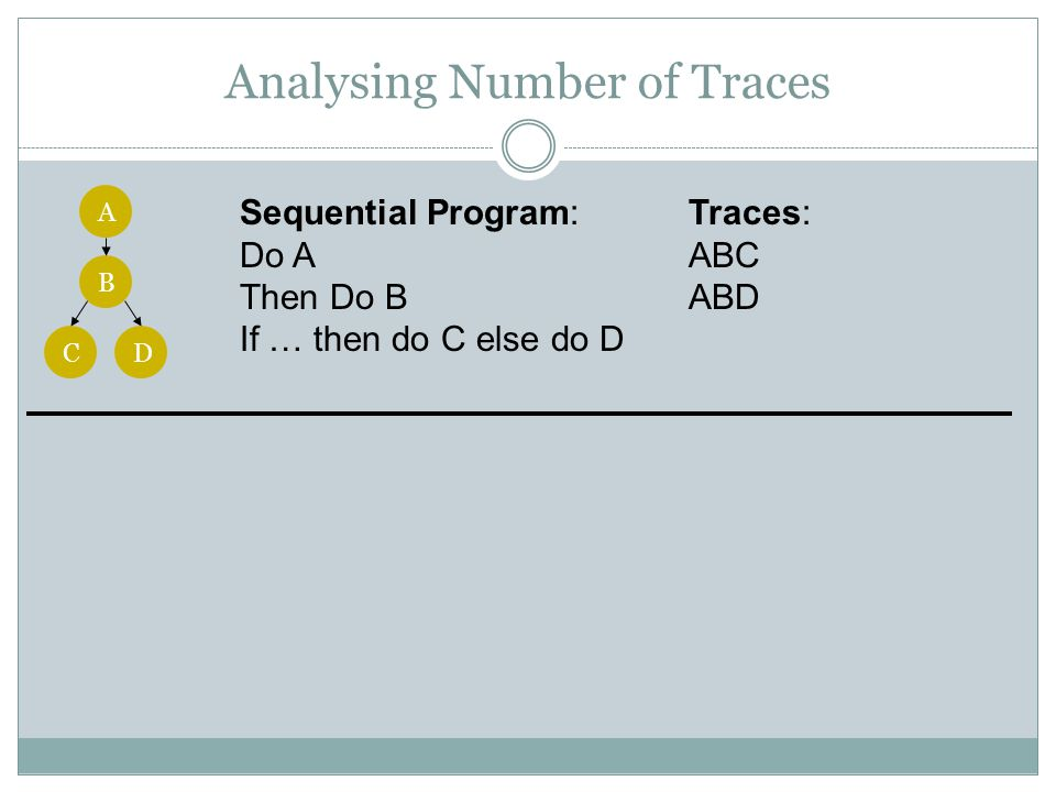 Analysing Number of Traces A B CD Sequential Program: Do A Then Do B If … then do C else do D Traces: ABC ABD