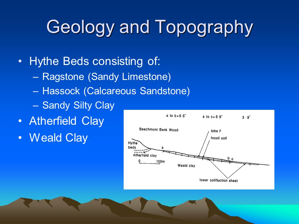 Geology and Topography Hythe Beds consisting of: –Ragstone (Sandy Limestone) –Hassock (Calcareous Sandstone) –Sandy Silty Clay Atherfield Clay Weald C