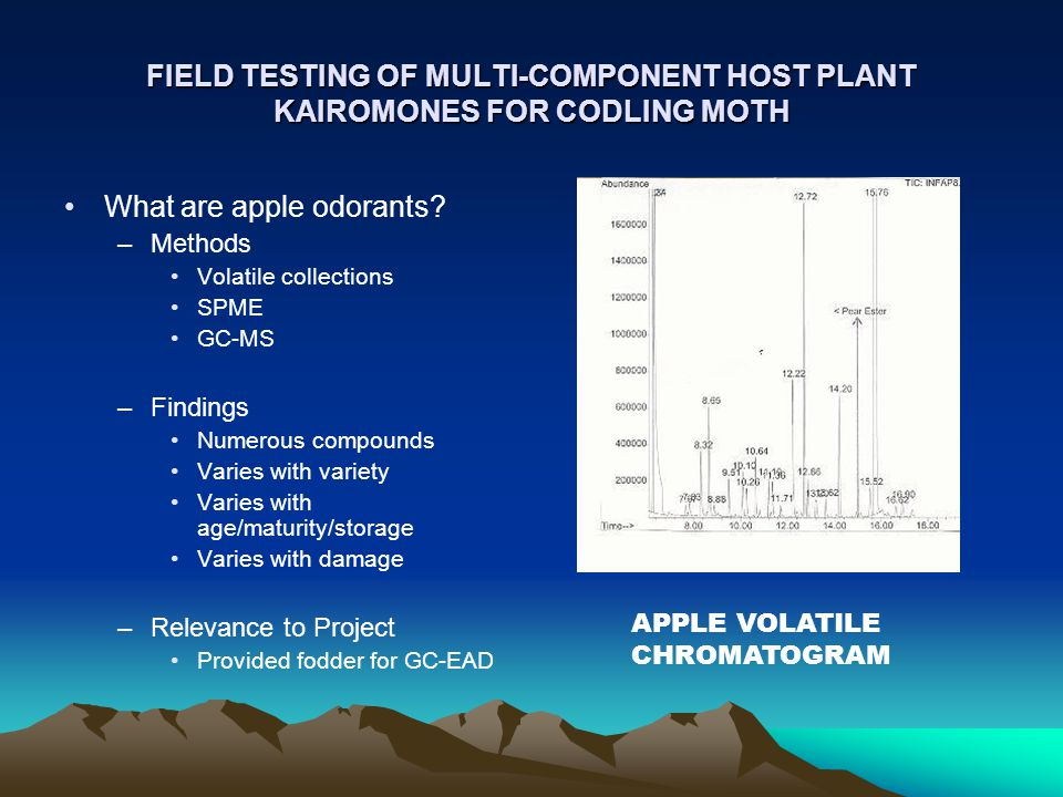 FIELD TESTING OF MULTI-COMPONENT HOST PLANT KAIROMONES FOR CODLING MOTH What are apple odorants.