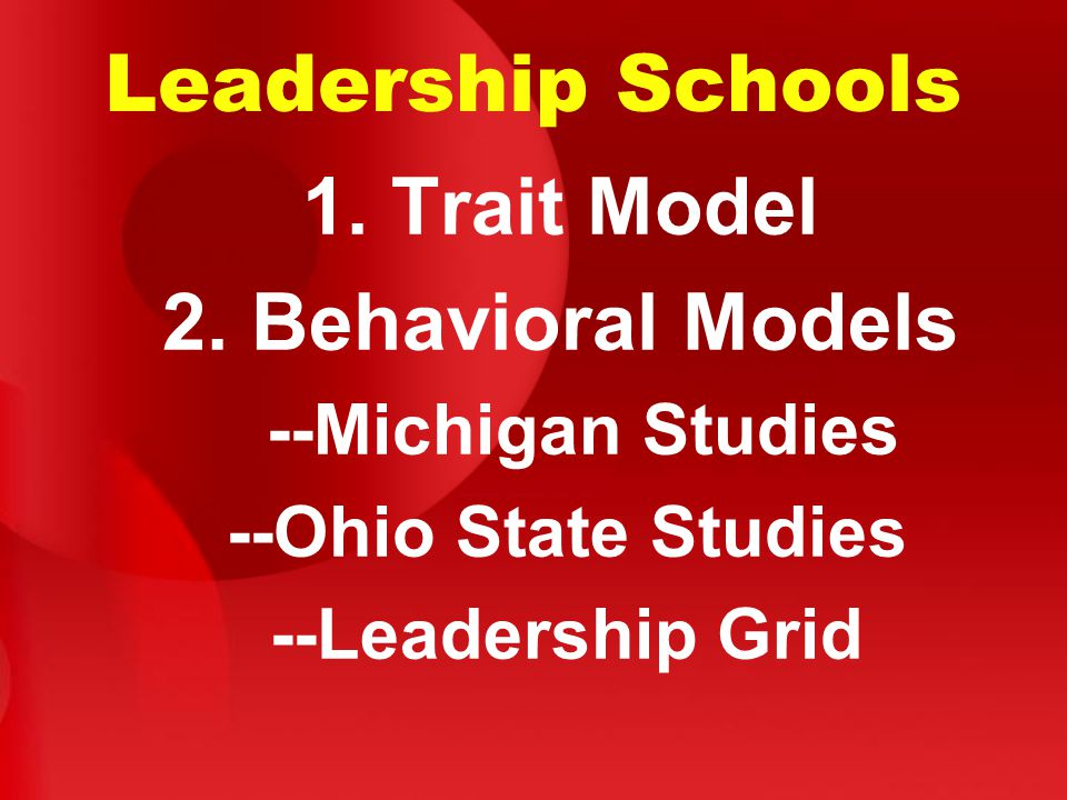 Leadership Schools 1. Trait Model 2. Behavioral Models --Michigan Studies --Ohio State Studies --Leadership Grid
