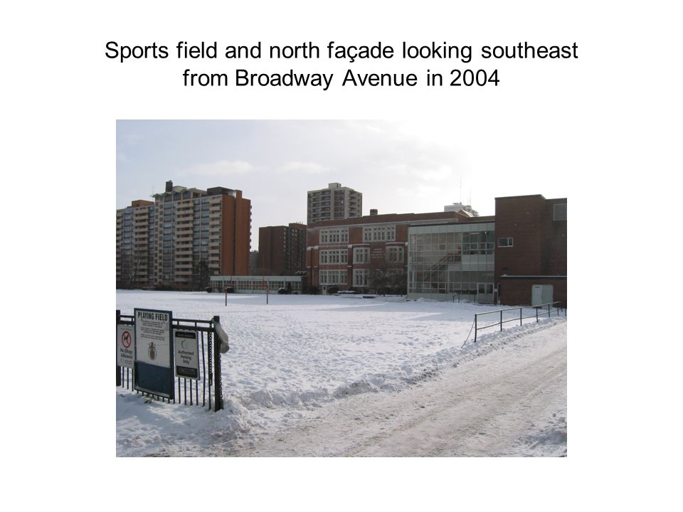Sports field and north façade looking southeast from Broadway Avenue in 2004