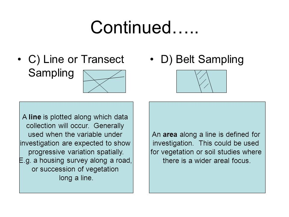 Continued….. C) Line or Transect Sampling D) Belt Sampling A line is plotted along which data collection will occur. Generally used when the variable