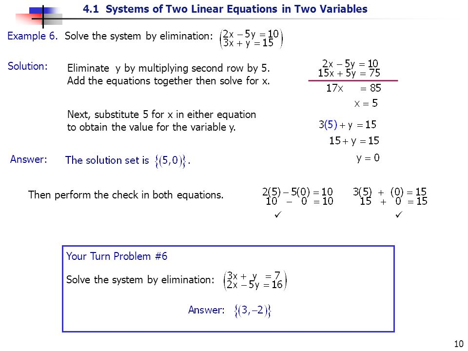 4.1 Systems of Two Linear Equations in Two Variables 10 Solution: Example 6. Solve the system by elimination: Eliminate y by multiplying second row by
