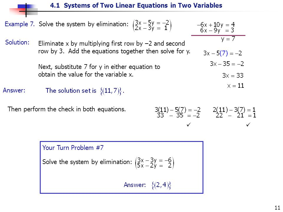 4.1 Systems of Two Linear Equations in Two Variables 11 Solution: Example 7. Solve the system by elimination: Eliminate x by multiplying first row by
