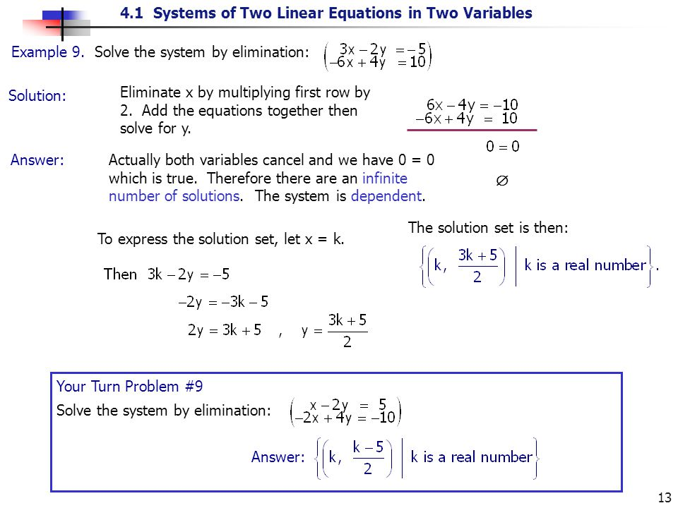 4.1 Systems of Two Linear Equations in Two Variables 13 Solution: Example 9. Solve the system by elimination: Eliminate x by multiplying first row by
