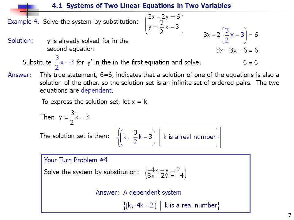 4.1 Systems of Two Linear Equations in Two Variables 7 Solution: Example 4. Solve the system by substitution: y is already solved for in the second eq